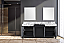 """80"""" Black and Grey Double Vanity, Castle Grey Marble Tops, and White Square Sinks"""