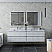 """72"""" Wall Hung Double Sink Modern Bathroom Vanity w/ Mirrors in Rustic White"""