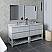 "72"" Floor Standing Double Sink Modern Bathroom Vanity w/ Open Bottom & Mirrors in Rustic White"