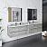 "84"" Wall Hung Double Sink Modern Bathroom Vanity w/ Mirrors in Ash"