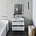 "30"" Wall Hung Modern Bathroom Vanity w/ Mirror in Rustic White"