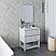 "30"" Floor Standing Modern Bathroom Vanity w/ Open Bottom & Mirror in Rustic White"