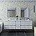 """72"""" Wall Hung Double Sink Modern Bathroom Vanity w/ Mirrors in Rustic White Finish"""