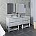 "72"" Floor Standing Double Sink Modern Bathroom Vanity w/ Open Bottom & Mirrors in Rustic White Finish"