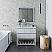 "36"" Floor Standing Open Bottom Modern Bathroom Cabinet w/ Top & Sink in Rustic White"