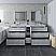 "84"" Floor Standing Double Sink Modern Bathroom Cabinet w/ Top & Sinks in Rustic White"