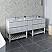 "84"" Floor Standing Open Bottom Double Sink Modern Bathroom Cabinet w/ Top & Sinks in Rustic White"