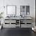"84"" Wall Hung Double Sink Modern Bathroom Cabinet w/ Top & Sinks in Ash"