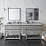 """84"""" Floor Standing Open Bottom Double Sink Modern Bathroom Cabinet w/ Top & Sinks in Ash"""