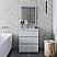 "30"" Floor Standing Modern Bathroom Cabinet w/ Top & Sink in Rustic White"