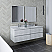 """60"""" Wall Hung Double Sink Modern Bathroom Cabinet w/ Top & Sinks in Rustic White"""