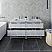 "60"" Floor Standing Open Bottom Double Sink Modern Bathroom Cabinet w/ Top & Sinks in Rustic White"