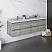 "60"" Wall Hung Double Sink Modern Bathroom Cabinet w/ Top & Sinks in Ash"