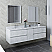 """72"""" Wall Hung Double Sink Modern Bathroom Cabinet w/ Top & Sinks in Rustic White Finish"""