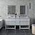 "72"" Floor Standing Open Bottom Double Sink Modern Bathroom Cabinet w/ Top & Sinks in Rustic White Finish"