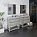 "72"" Floor Standing Open Bottom Double Sink Modern Bathroom Cabinet w/ Top & Sinks in Ash Finish"
