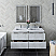 """48"""" Wall Hung Double Sink Modern Bathroom Cabinet w/ Top & Sinks in Rustic White"""