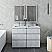 "48"" Floor Standing Double Sink Modern Bathroom Cabinet w/ Top & Sinks in Rustic White"