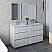 "60"" Floor Standing Double Sink Modern Bathroom Cabinet w/ Top & Sinks in Rustic White Finish"
