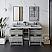 "60"" Floor Standing Open Bottom Double Sink Modern Bathroom Cabinet w/ Top & Sinks in Ash Finish"