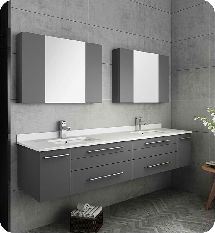 "Fresca Lucera 72"" Gray Wall Hung Double Undermount Sink ..."