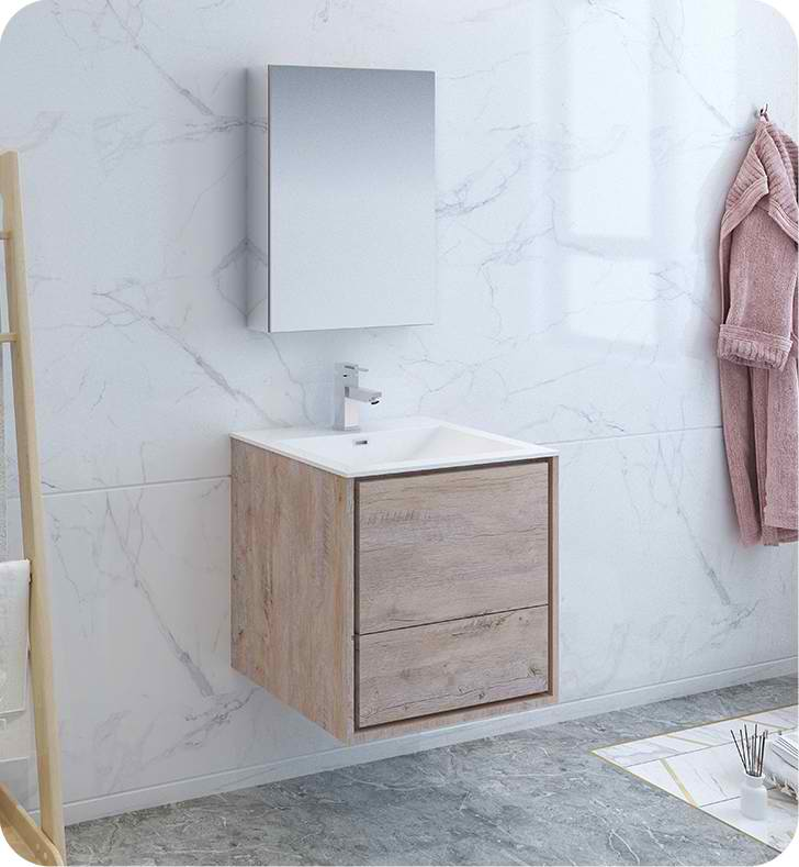 30 Rustic Natural Wood Wall Hung Modern Bathroom Vanity With Medicine Cabinet And Faucet Options