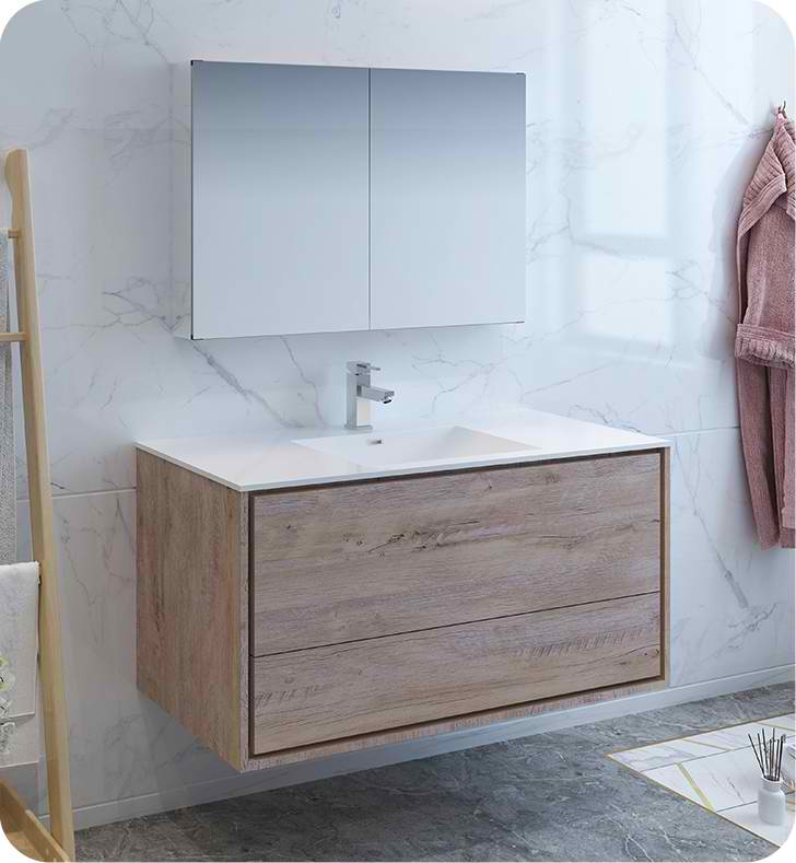 48 Rustic Natural Wood Wall Hung Modern Bathroom Vanity With Medicine Cabinet And Faucet Options