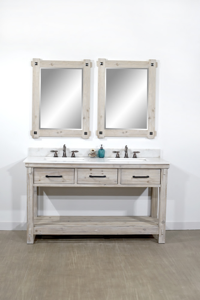 "60"" Rustic Solid Fir Double Sink Bathroom Vanity - No ..."