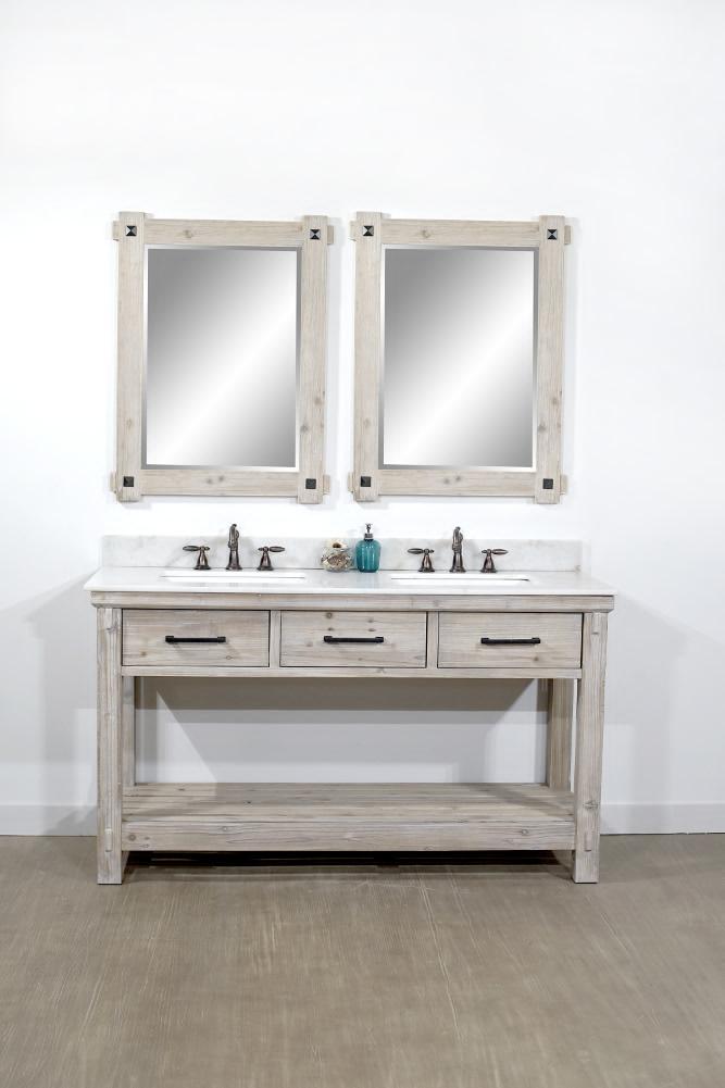 "60"" Rustic Solid Fir Double Sink Bathroom Vanity - No ..."