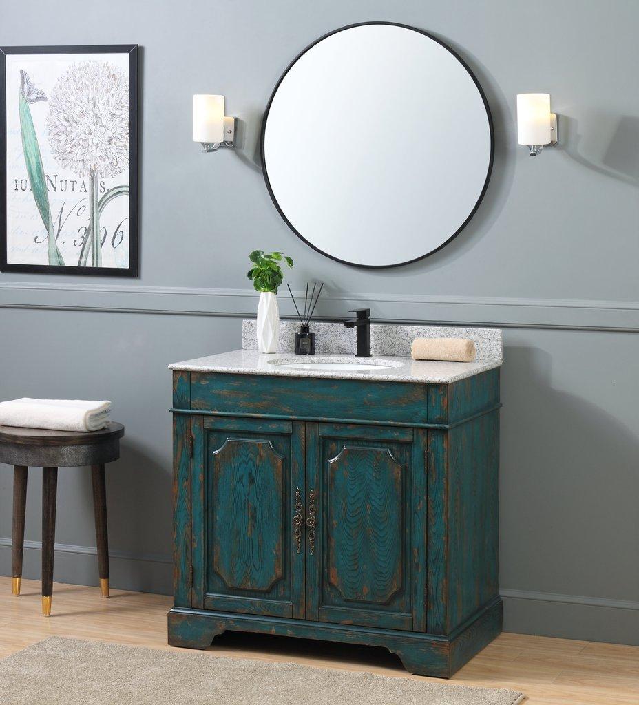 Adelina 36 Benton Collection Litchfield Rustic Emerald Blue Distressed Bathroom Vanity