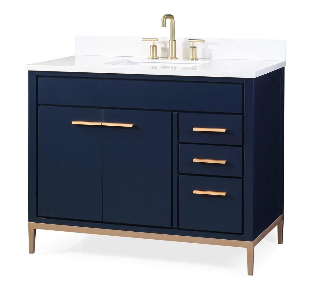"42"" navy blue modern bathroom sink vanity with quartz"