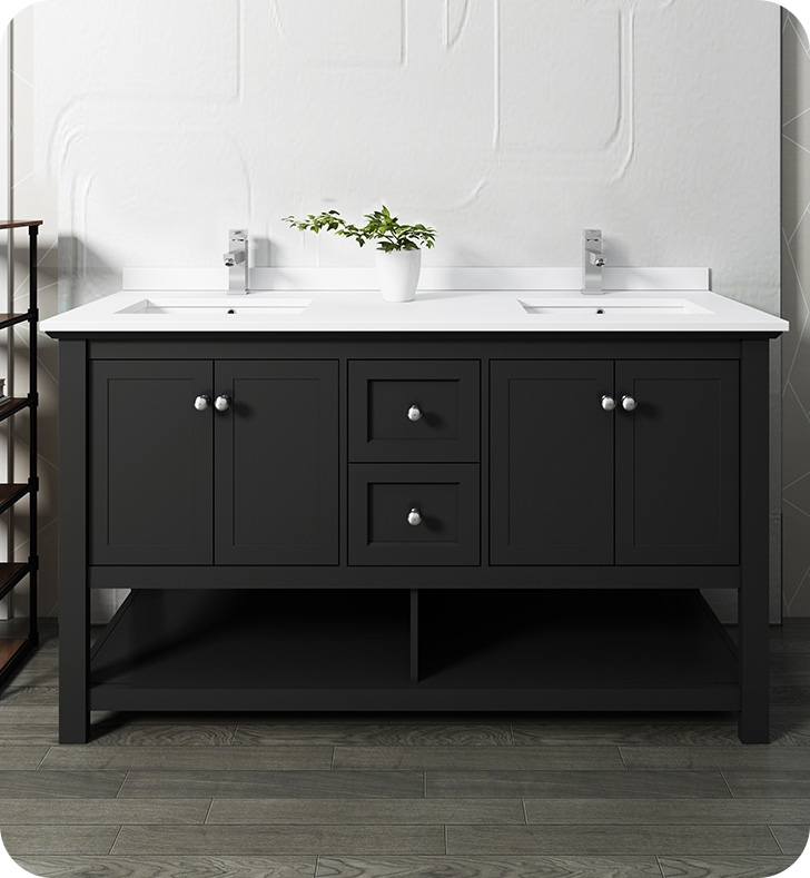 """60"""" Traditional Double Sink Bathroom Cabinet with Top ..."""