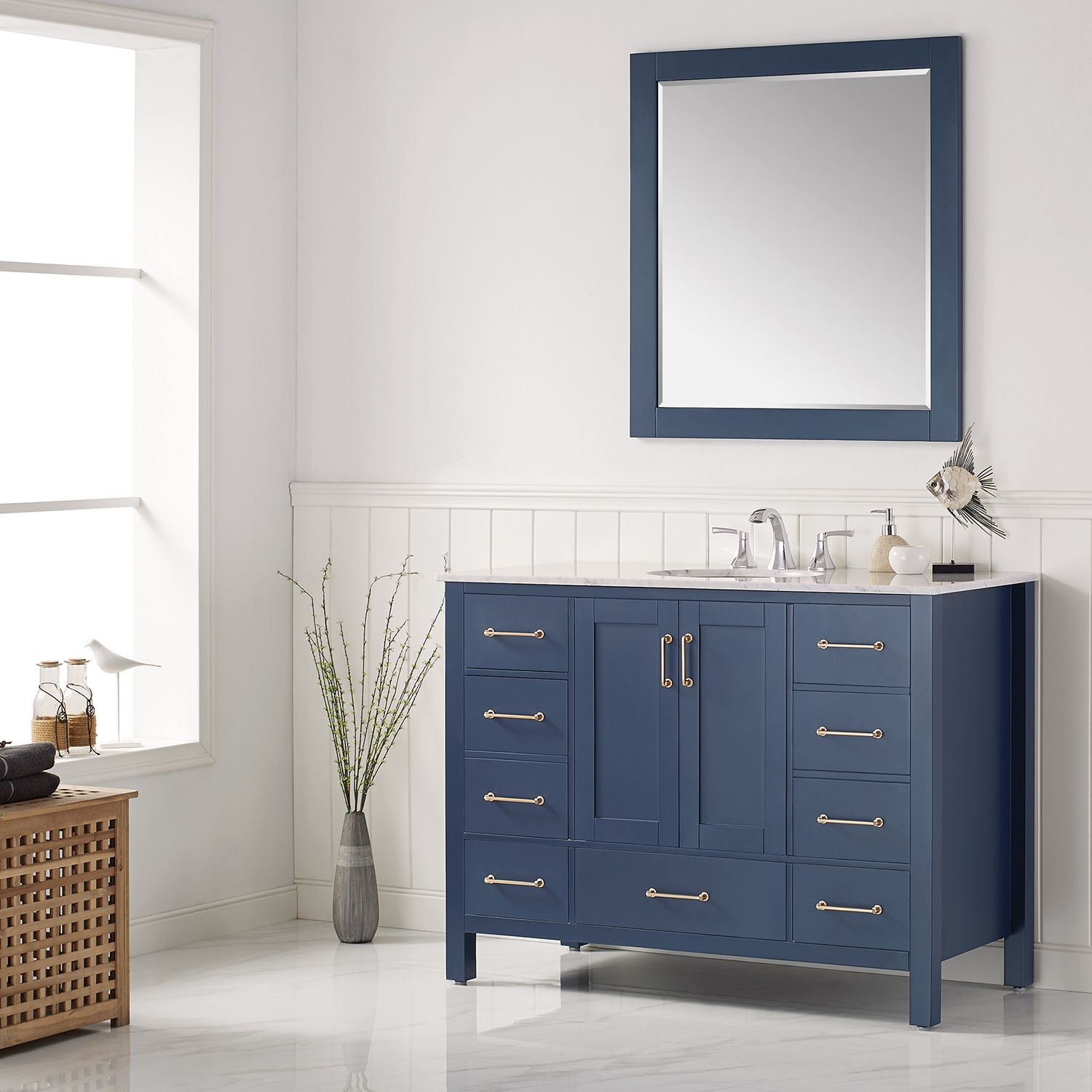 48 Single Vanity In Royal Blue With Carrara White Marble Countertop With Mirror