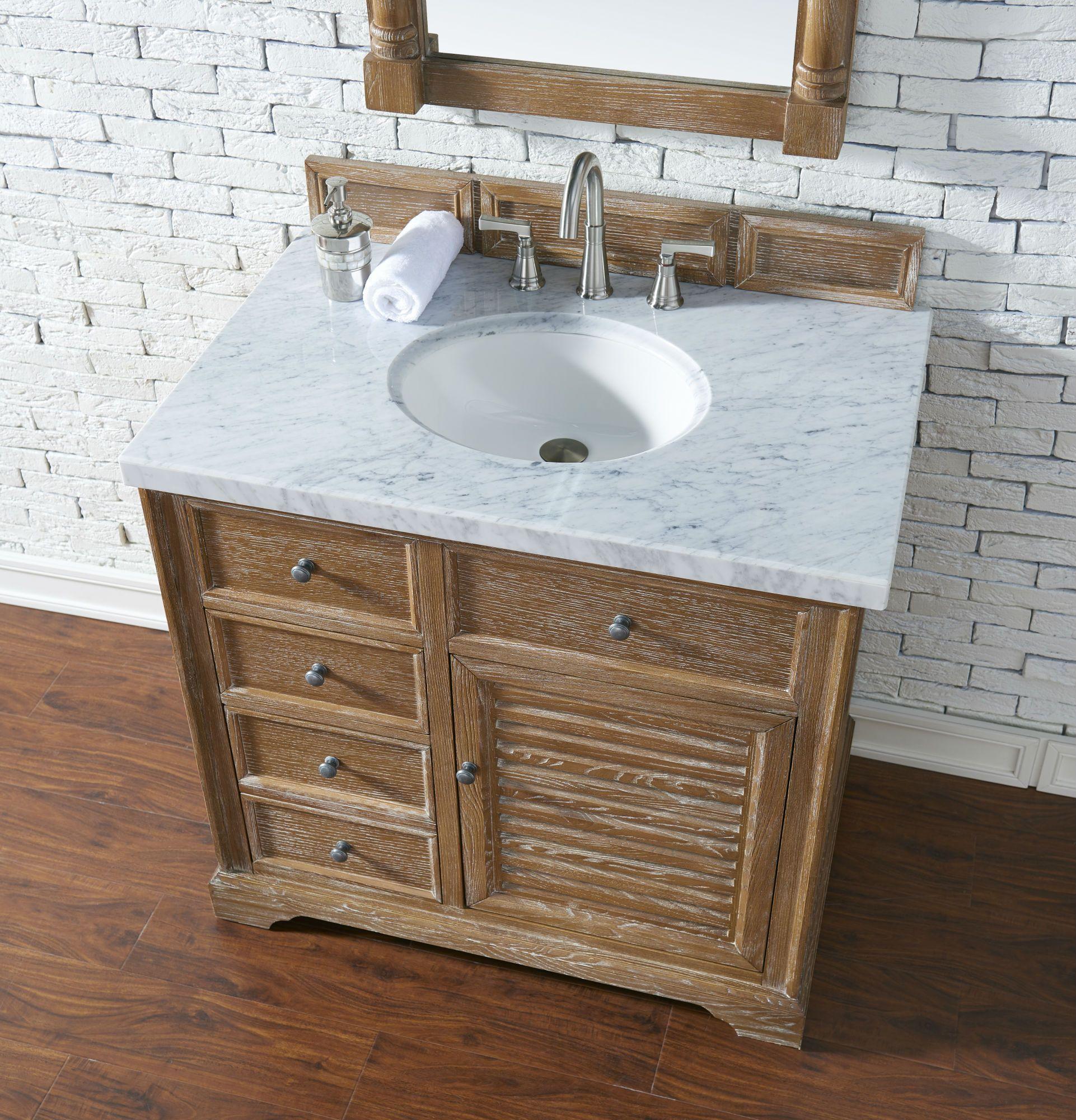 Savannah 36 Inch Bathroom Vanity In Driftwood Finish Tropical Brown Granite Top