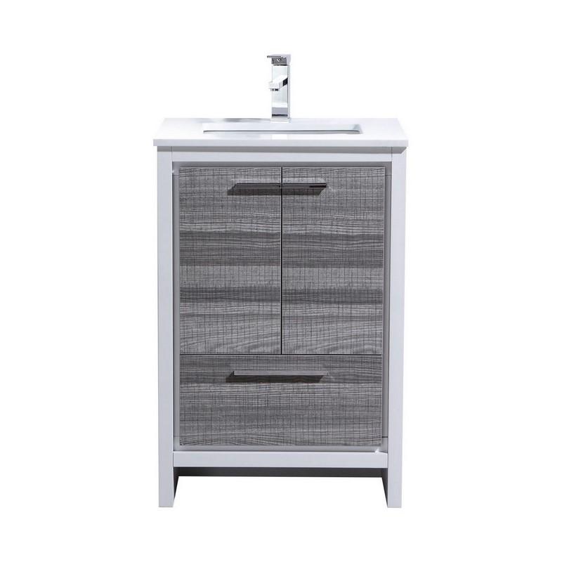 Modern Lux 24 Ash Gray Modern Bathroom Vanity With White Quartz Counter Top