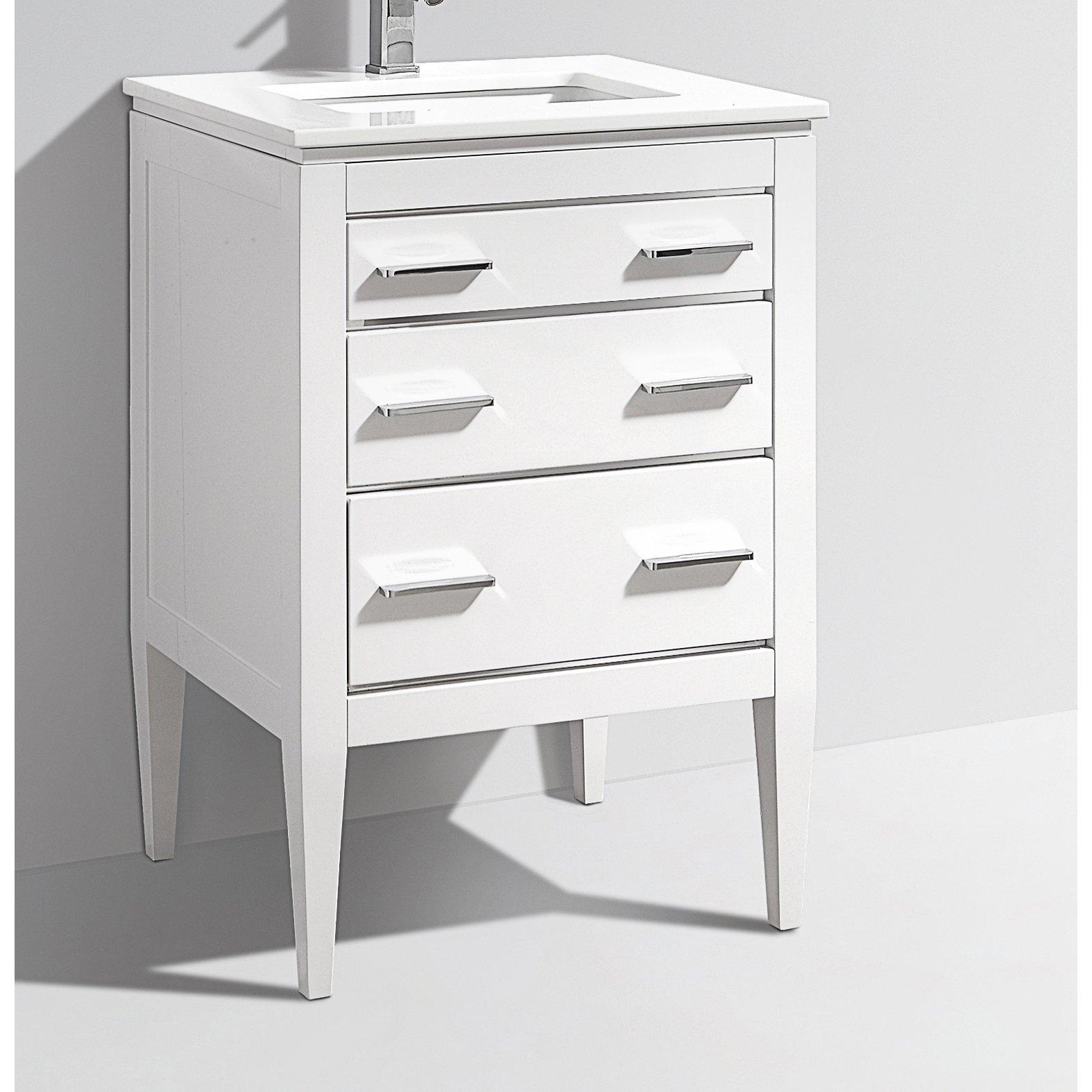 24 inch contemporary bathroom vanity white glossy finish for White contemporary bathroom vanity
