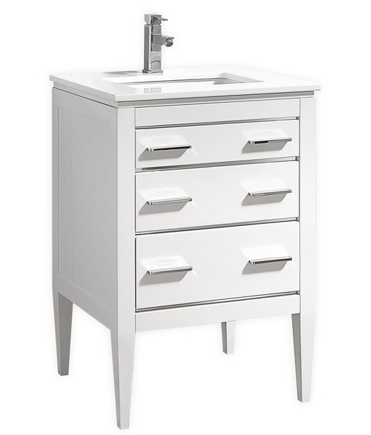 Modern Lux 24'' High Gloss White Vanity W/ Quartz Counter Top