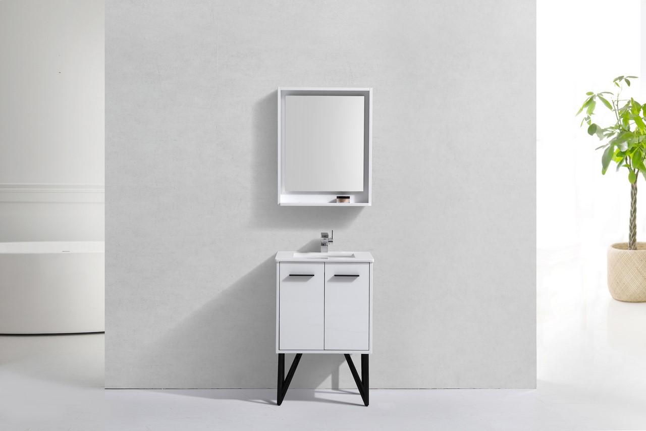 24 Inch High Gloss White Modern Bathroom Vanity Quartz Top