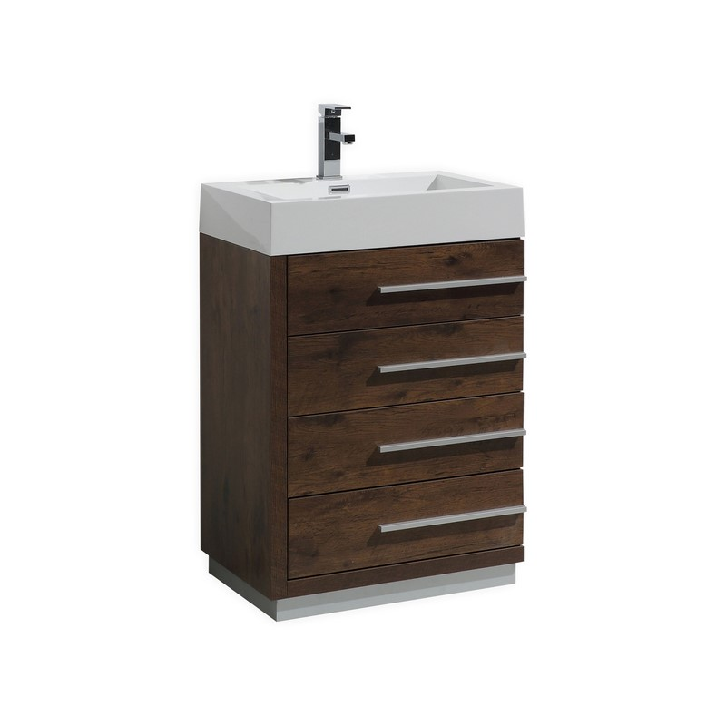 24 Inch Rose Wood Finish Modern Bathroom Vanity With Four