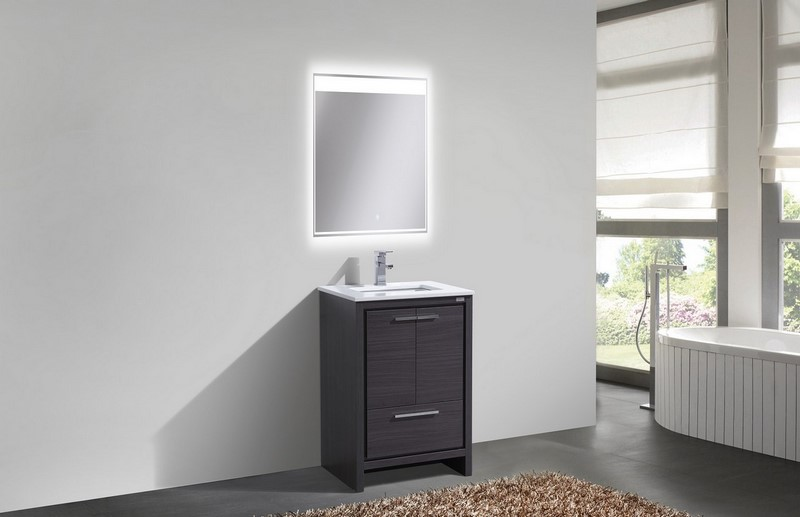 White Quartz Bathroom Counter 24 inch gray oak modern bathroom vanity with white quartz countertop