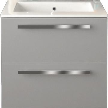 24 Inch Modern Wall Mounted Bathroom Vanity Grey Glossy Finish