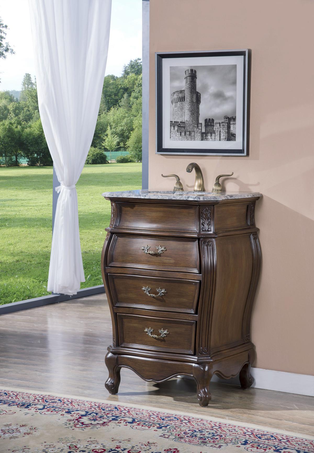 24 Quot Adelina Antique Style Walnut Single Sink Bathroom Vanity With Gray Granite Top