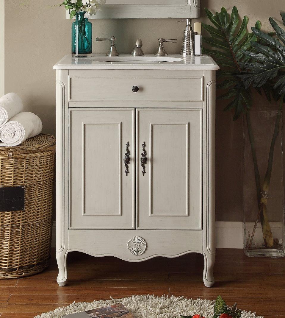 26 Inch Adelina Cottage Bathroom Vanity Crystal White Marble Top