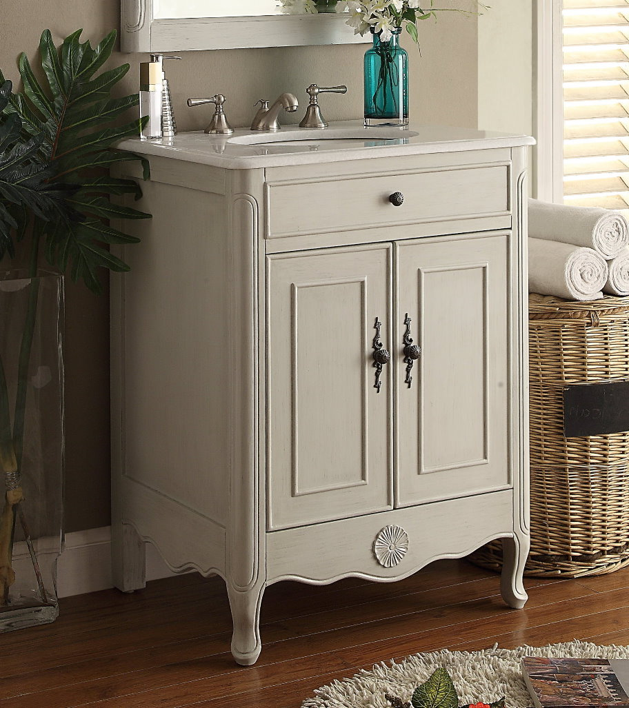 26 Inch Adelina Cottage Bathroom Vanity Crystal White Marble Top