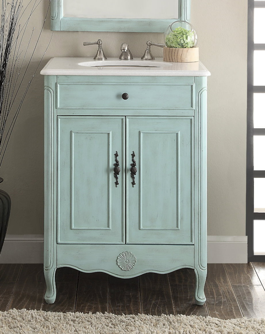 26 inch adelina cottage light blue bathroom vanity crystal white marble top