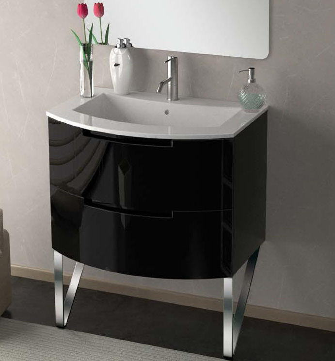29 Inch Modern Vanity Black Glossy Finish 29 Inch Modern Bathroom ...