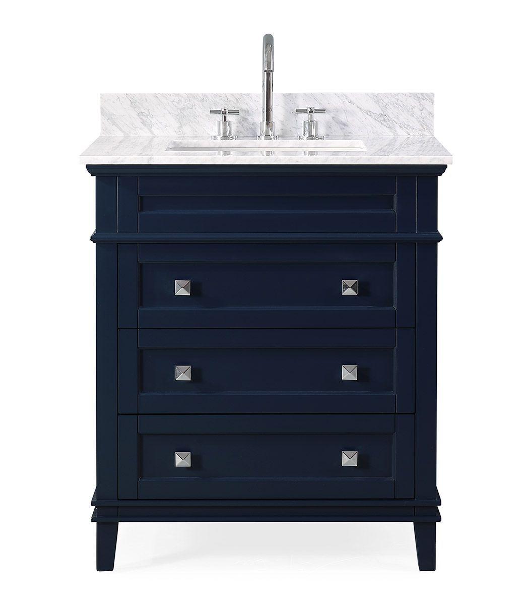"""30"""" contemporary single sink navy blue bathroom vanity"""
