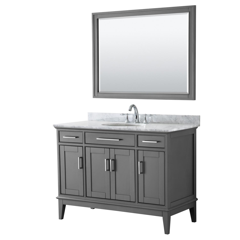 Contemporary 48 Quot Single Bathroom Vanity In Dark Gray White Carrara Marble Countertop With