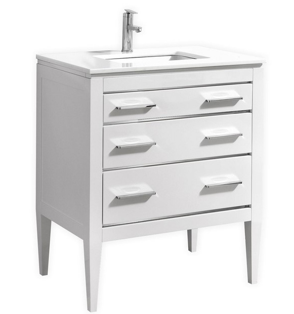 30 inch Contemporary Bathroom Vanity White Glossy Finish Pure ...
