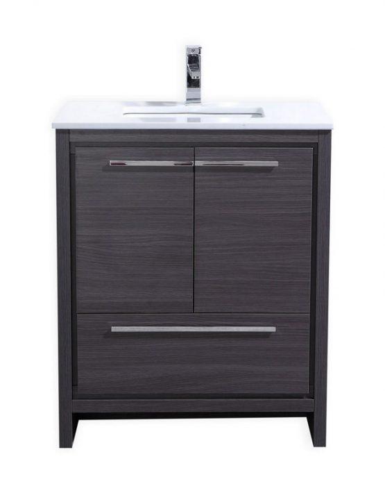 Modern Lux 30 Gray Oak Bathroom Vanity With White Quartz Counter Top